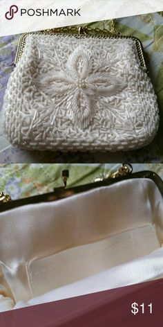 NWOT Beaded white clutch Never used, 6 inches long, 7 inches wide Bags Clutches & Wristlets