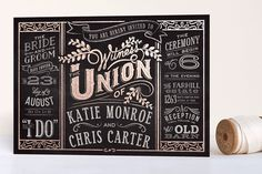 """""""Slated Forever"""" - Bold typographic, Vintage Foil-pressed Wedding Invitations in Chalkboard by GeekInk Design."""