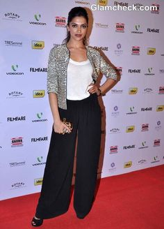 Deepika Padukone Edgy in Rohit Gandhi & Rahul Khanna sequin jacket  teamed with wide-legged black trousers & a white jersey tank