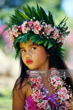 View top-quality stock photos of French Polynesia Tahiti Portrait Of Young Girl Wearing Head Lei Find premium, high-resolution stock photography at Getty Images. Precious Children, Beautiful Children, Beautiful Babies, Beautiful World, Beautiful People, Kids Around The World, We Are The World, People Around The World, Jolie Photo