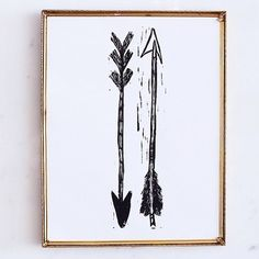 This print is a hand carved, printed and pulled open edition linocut of a two arrows. $20