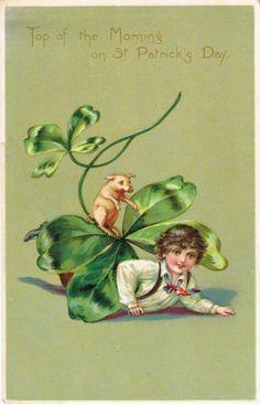 Vintage St Patrick's Day postcard - boy with pig circa 1910 Postcards For Sale, Vintage Postcards, Vintage Images, St Patrick's Day, St Patricks Day Cards, Saint Patricks, St Patricks Day Pictures, Top Of The Morning, Photo Souvenir