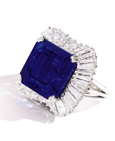 28.18 carat square emerald-cut Kashmir sapphire sold for nearly 5.1 million.