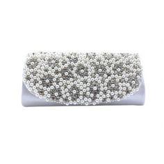 Sequined Rhinestone Pearl Beaded Chain Bag Evening Wedding Party Handbag Clutch Purse Wallet Silver