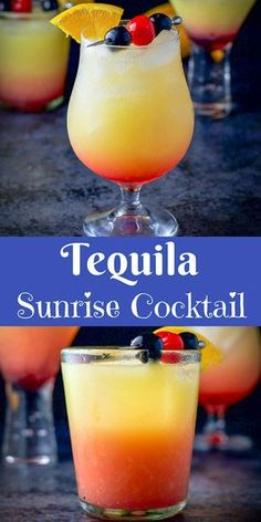 This refreshing and delicious tequila sunrise cocktail recipe is great for any g. - This refreshing and delicious tequila sunrise cocktail recipe is great for any g. Cocktail Tequila Sunrise, Tequila Drinks, Liquor Drinks, Sunrise Drink, Vodka Cocktails, Tequilla Sunrise, Vodka Martini, Mixed Drinks With Tequila, Peach Schnapps Drinks