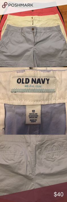 NWOT! Old Navy ! BARGAIN ❤️ 4 pair! Final price! 4 pair of BRAND NEW Old Navy shorts!!! These are new the only pair that was even washed was the white pair! My daughter took bought these took tags off and they've been folded in a drawer ever since. NEVER WORN!!! Need these gone!😍 Navy blue, white, pink and baby blue! You can definitely tell they have not been washed by the feel and wrinkles from being folded. BARGAIN 😁 4= 1 price! Old Navy Shorts