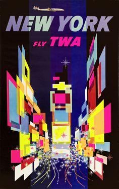 TWA New York - Modernist Poster by David Klein - First Edition with Super Constellation