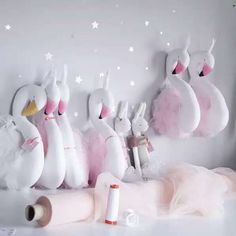 new arrival ins baby store rome decoration animal wall hanging photography props white pink swan 3d - Kids Decor