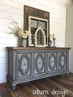 Grey farmhouse buffet By uturn design # refurbished Furniture UTurn Design Refurbished Furniture, Paint Furniture, Repurposed Furniture, Furniture Projects, Furniture Makeover, Bedroom Furniture, Grey Painted Furniture, Wood Bedroom, Furniture Design