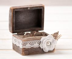 Handmade Wooden Wedding Ring Cushion with Ivory Lace Flower Ribbon– Ring Bearer Box Wedding Ring Box Ring Holder – a unique product by InesesWeddingGallery via en.dawanda.com