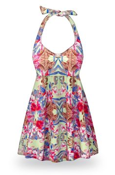 Customizable Catalina Print Halter or Shoulder Strap 2pc Plus Size Swimsuit/SwimDress