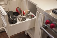 Kitchen utensil organization Not on the counter, not stuffed in a flat drawer.