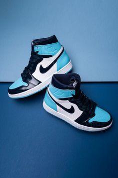 JORDAN 1 BLUE by waldocustom Cute Nike Shoes, Nike Air Shoes, Nike Socks, Colorful Nike Shoes, Nike Shoes Outfits, Awesome Shoes, Emo Outfits, Cute Casual Outfits, Summer Outfits
