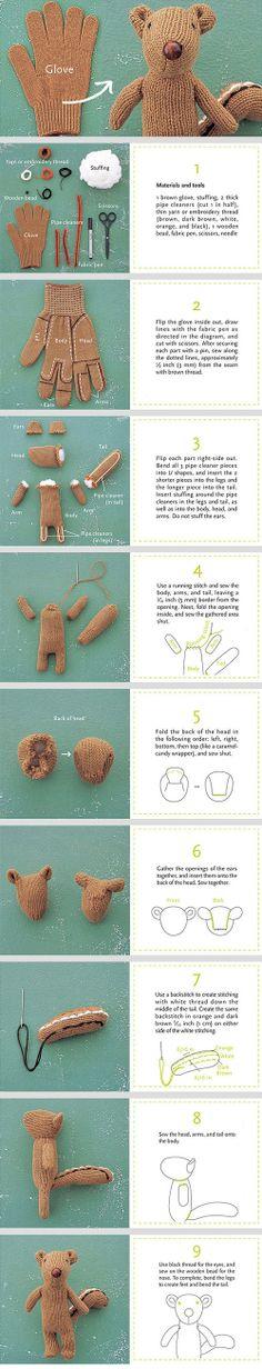 DIY chipmunk from a glove
