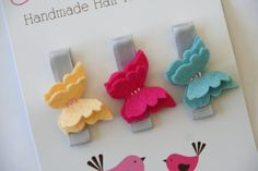 Baby Hair Clips Petite Butterflies in Brights Baby Barrettes Girls Hair Clips Alligator Clips. $9.99, via Etsy. from chatterbox clippies