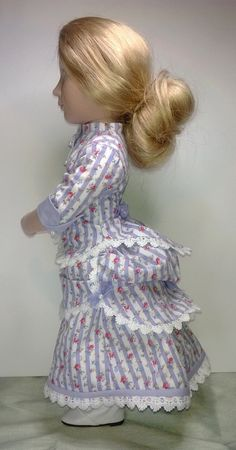 Victorian late 1800 A Girl for all time doll bustle dress Organza Ribbon, Ribbon Bows, Cotton Lace, Cotton Fabric, Bustle Skirt, Striped Fabrics, Little Red, Fitted Bodice, Girl Dolls