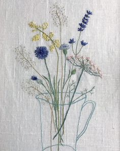 Simple Embroidery, Hand Embroidery Stitches, Embroidery Applique, Cross Stitch Embroidery, Embroidery Designs, Flower Embroidery, Textile Texture, Textile Art, Lace Beadwork