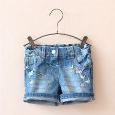 [ $46 OFF ] 1617257 Wholesale 2016 Summer Fashion Baby Girls Shorts Denim Embroidery Toddler Girls Pants Straight Children Clothes Supplier