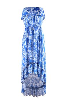 Strapless Antique Prints Hi-Lo Summer Holiday Resort Beach Dress