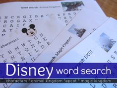 disney word searches: getting kids ready for the trip or helping them remember great times!