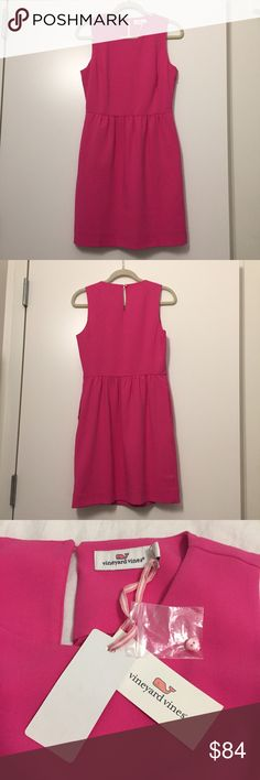Pink Vineyard Vines Dress A sleeveless dress in the perfect pink with a classic silhouette. Item is fully-lined & has discreet pockets. Hidden side zip closure and a small button on back at the neckline as pictured. Item is never worn & fairly recent style (purchased last year). Vineyard Vines Dresses