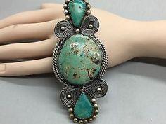 Navajo Huge Turquoise Sterling Silver Gloria Chavez Pendant | eBay