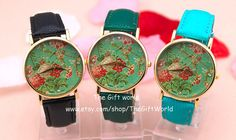 Black leather watch Vintage Style Leather Watch by TheGiftWorld, $6.50 Simple flowers personalized leather classical watches, best gift of friendship.