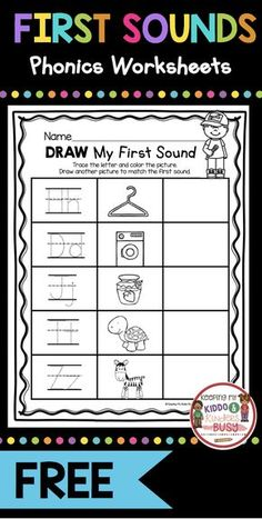 PHONICS worksheets and activities for kindergarten prek and preschool - print for FREE - teach initial sounds - beginning sounds in CVC words and letter sounds - great for phonemic awareness and phonological awareness - try FREEBIES and literacy center i Kindergarten Freebies, Teacher Freebies, Kindergarten Classroom, Kindergarten Activities, Phonics Worksheets, Phonics Activities, Shapes Worksheets, Toddler Activities, Initial Sounds