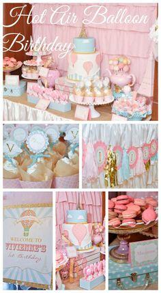 Hot air balloon girl 1st birthday! See more party ideas at CatchMyParty.com. #hotairballoon #girlbirthday #1stbirthday