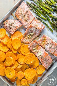 One-Pan Salmon, Asparagus, and Sweet Potato Dinner | 17 Healthy One-Dish Recipes Under 500 Calories