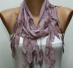 Scarf  Lilac Cotton Scarf Headband Woman Necklace Cowl by fatwoman, $15.00