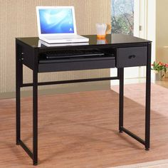 network black computer desk by homelegance in home office desks this metal and glass industrial style computer desk features a black glass top