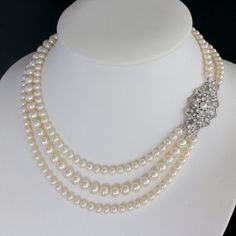 Wedding Jewelry Pearl statement necklace Crystal Rhinestone Bridal Necklace MARCELLA GRAND
