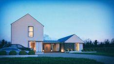Lough View - McAleenan NI Modern Bungalow Exterior, Modern Bungalow House, Modern Farmhouse Exterior, Modern Barn House, Modern House Facades, Modern House Plans, House Designs Ireland, Stone Cottages, Farmhouse Renovation