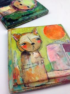 Whimsical Owls and Other Mixed Media Art From the Heart by Juliette Crane: NEW Mixed Media Painting - With This, Then