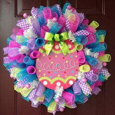 Easter Egg Spiral Deco Mesh Wreath Bright Spring Colors