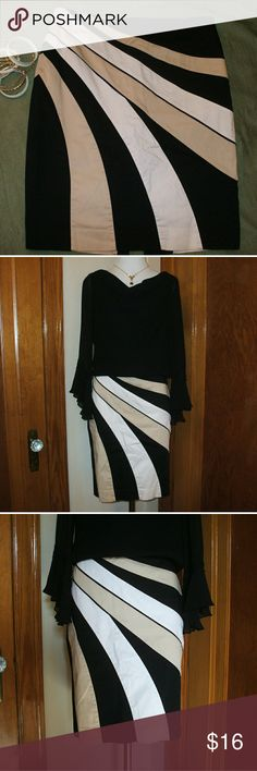 White House Black Market Skirt Black with beige & white designs - slit in the back - zipper on the left side - lined - Gently worn - smoking home White House Black Market Skirts A-Line or Full