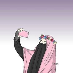 Gambar Kartun Hijab Cantik Bertopi