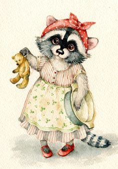 Art And Illustration, Illustrations And Posters, Raccoon Illustration, Animal Illustrations, Raccoon Art, Racoon, Cute Animal Drawings, Cute Drawings, Photo D Art