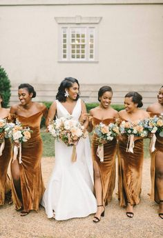 Beautiful bronze velvet bridesmaids dresses for a luxe fall wedding Bronze Bridesmaid Dresses, Bridesmaids, Bridesmaid Hair, Wedding Party Dresses, Bridal Dresses, Party Gowns, Fall Dresses, Wedding Hair Down, Wedding Updo