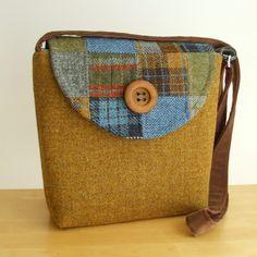 Harris Tweed Messenger Bag Patchwork One by peskycatdesigns