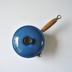 Vintage 16 Le Creuset Enameled Cast Iron Sauce Pan Marseille Blue Teak Handle by ModernSquirrel