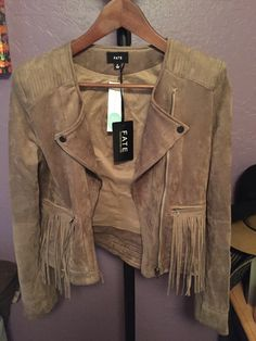 KEPT - Kayden Fringe Jacket; Box 9; Verdict: I was reluctant at first when I first pulled out the jacket, but I don't want to get in a rut of all my clothes looking the same! I love the lapels and it is SUPER soft. I'm glad there wasn't a ton of fringe as well, because too much is not my thing. Stitch Fix Blog, Fringe Jacket, Military Jacket, How To Get, Lapels, My Love, Jackets, Clothes, Box