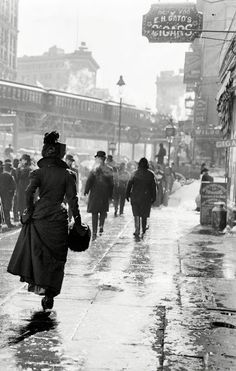 vintage everyday: On the streets after a New York blizzard, 1899