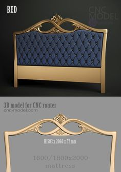 A1172  BED  cnc-model.com 3D model for cnc router 3D furniture Bed Headboard Design, Bedroom Bed Design, Bed Furniture, Home Decor Furniture, Furniture Design, Rooms Ideas, Provincial Furniture, Kitchen Modular, Luxury Italian Furniture