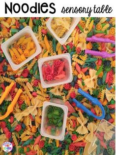 Colored noodles in the sensory table for back to school. Plus FREE preschool, pre-k, and kinder LESSON PLANS for the 1st ten days of school! Plus tips and tricks for back to school.