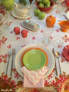 July 23 2016 White flamingo tangerine and chartreuse fiesta dinnerware & Spring table setting with fiesta dinnerware | Spring fiestaware ...