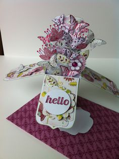 Box Card - Flowers and Butterflies with a hand made envelope!