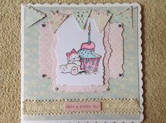 Strawberry kisses coloured with Spectrum Noirs. Bunting added for the finishing touch :-)