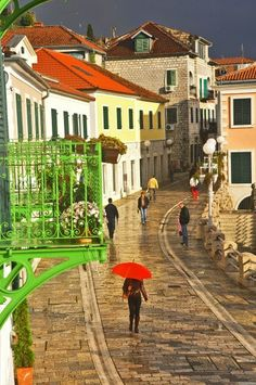 A rainy day in Herceg Novi, Montenegro. Herceg Novi is a coastal town in Montenegro located at the entrance to the Bay of Kotor and at the foot of Mount Orjen.